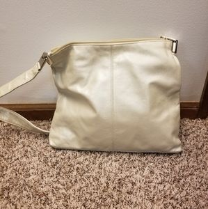 Pearly White Faux-Leather Saddle River Purse